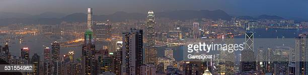 panoramic view of hong kong at dusk - gwengoat stock pictures, royalty-free photos & images