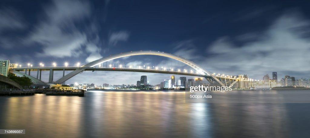 Panoramic View Of Illuminated Lupu Bridge Over Huangpu River At