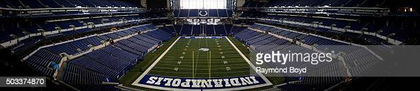 Panoramic view of inside Lucas Oil Stadium home of the Indianapolis Colts football team on December 22 2015 in Indianapolis Indiana
