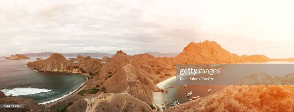 Panoramic View Of Island Against Sky : Stock Photo