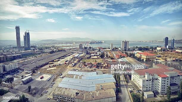 panoramic view of izmir harbor - emreturanphoto bildbanksfoton och bilder