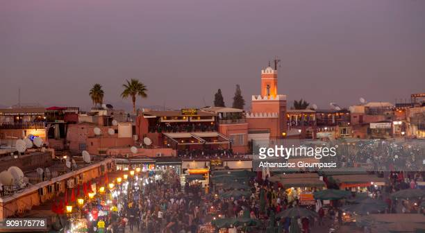 Panoramic view of Jamaa el Fna square during the sunset on January 04 2018 in Marrakesh Morocco Jamaa el Fna square is a Large public square and...