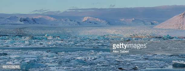 panoramic view of jokulsarlon iceberg lagoon in southern iceland. - alex saberi fotografías e imágenes de stock