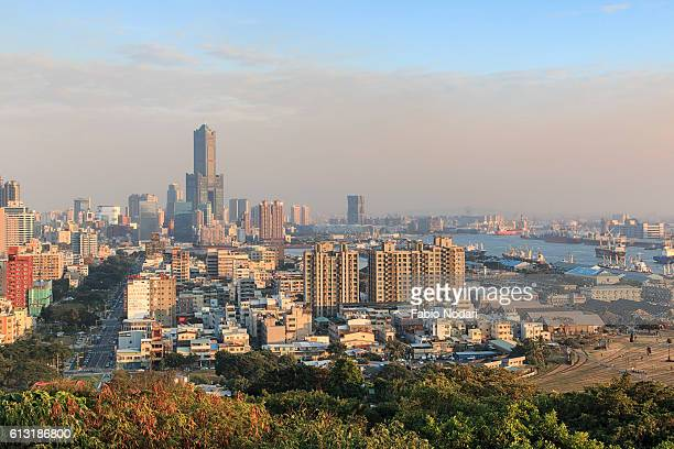 Panoramic view of Kaohsiung at sunset from the top of Shoushan mountain