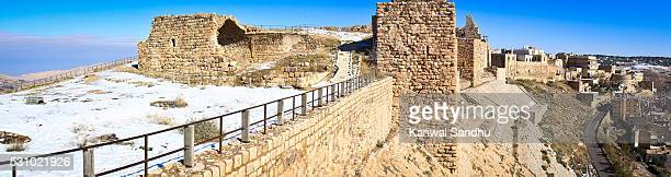 Panoramic view of Karak Crusader Castle covered in snow from the southern end