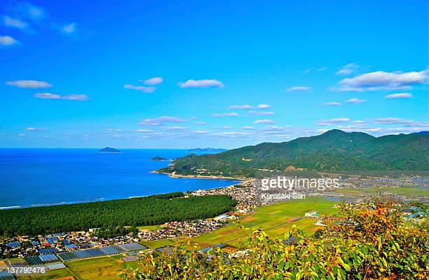 panoramic view of karatsu bay and famous pine tree - 佐賀県 ストックフォトと画像