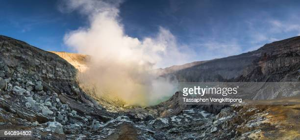 panoramic view of kawah ijen volcano crater - sulfuric acid stock photos and pictures