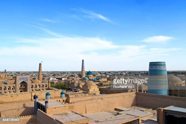 Panoramic view of Khiva with its palaces and minarets.