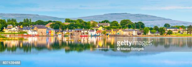 panoramic view of kinvara. co. galway, ireland. - county galway stock pictures, royalty-free photos & images