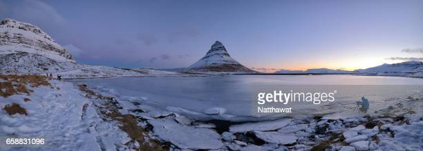 Panoramic View of Kirkjufell mountain in the winter in Iceland