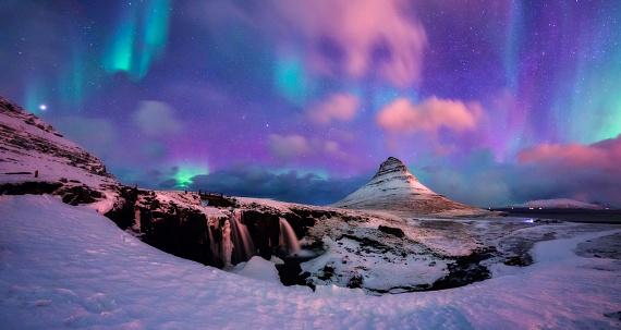 Panoramic View of Kirkjufell Mountain with Aurora - gettyimageskorea