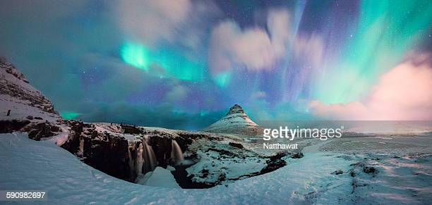 Panoramic View of Kirkjufell Mountain with Aurora