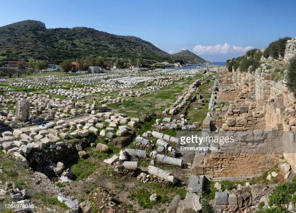 panoramic view of knidos ancient city ,aegean turkey. - emreturanphoto stock pictures, royalty-free photos & images