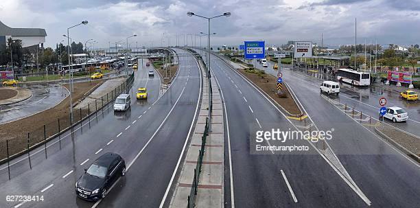 panoramic view of konak from the new pedestrian bridge in izmir. - emreturanphoto stock-fotos und bilder