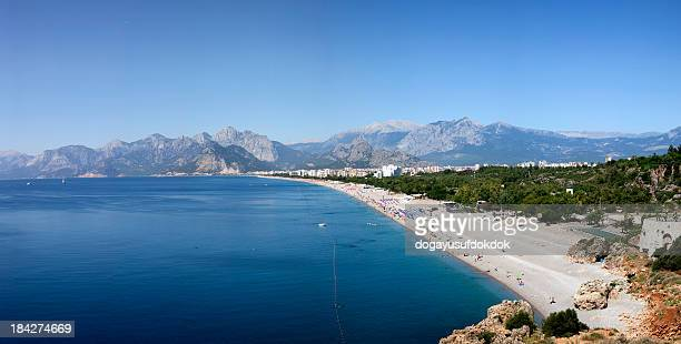panoramic view of konyaalti beach xxxl - antalya province stock pictures, royalty-free photos & images