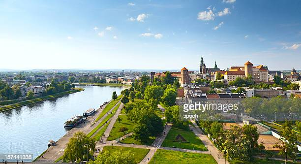 panoramic view of krakow, poland from wawel castle - poland stock pictures, royalty-free photos & images