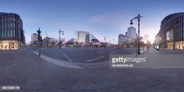360° panoramic view of kurfürstendamm - kurfürstendamm stock pictures, royalty-free photos & images