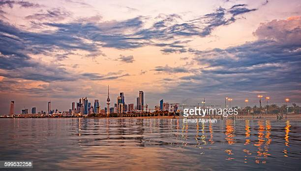 Panoramic view of Kuwait City at dusk