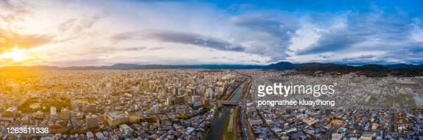 panoramic view of  kyoto, japan - city in the region of kansai. - 京都市 ストックフォトと画像