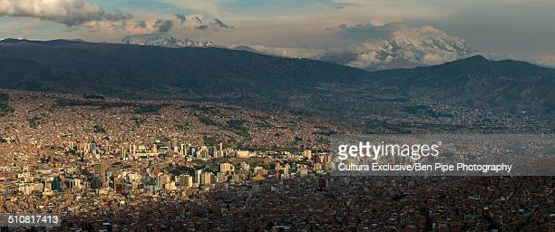 panoramic view of la paz from el alto, bolivia, south america - el alto stock pictures, royalty-free photos & images