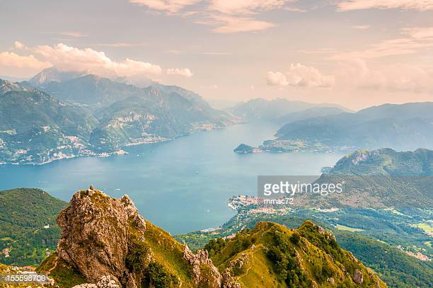 panoramic view of lago di como - lake como stock pictures, royalty-free photos & images