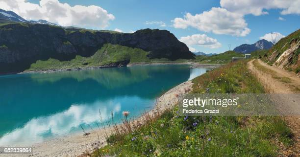 panoramic view of lago kastel in formazza valley, piedmont, northern italy - valley stock pictures, royalty-free photos & images