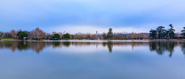 Panoramic view of lake against sky, Madrid, Comunidad de Madrid, Spain