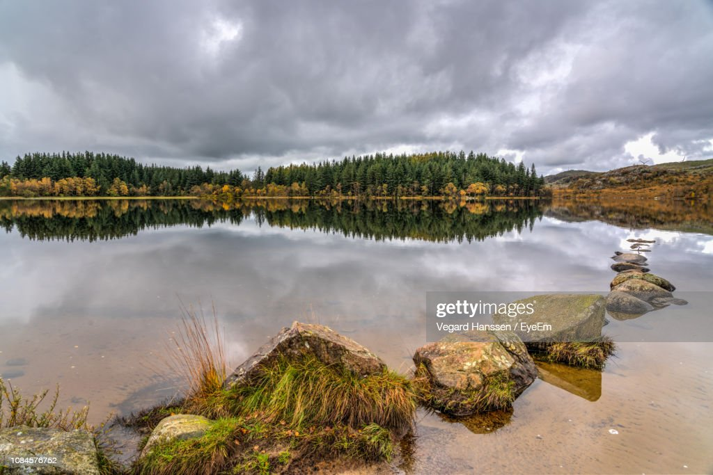 Panoramic View Of Lake Against Sky : Stock Photo