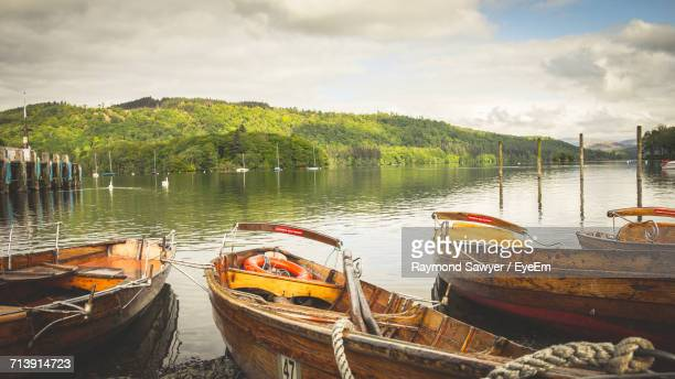 panoramic view of lake against sky - ambleside stock photos and pictures