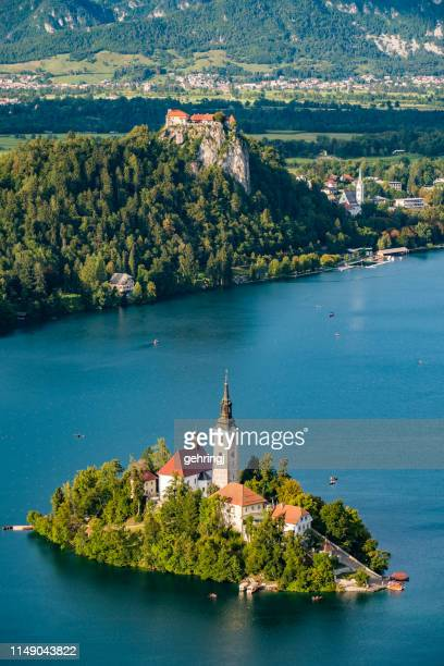 panoramic view of lake bled - slovenia foto e immagini stock