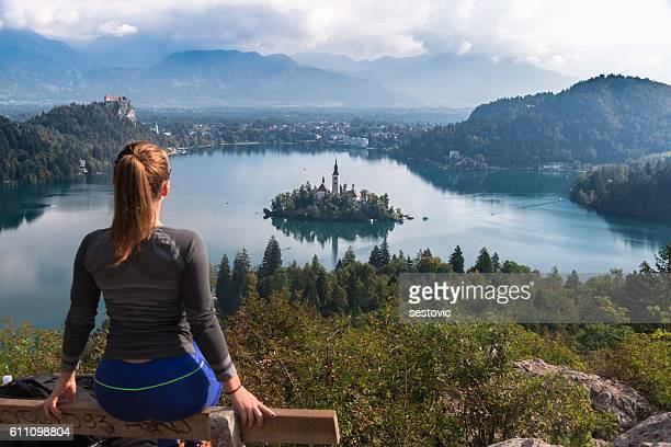 panoramic view of lake bled - slovenia stock pictures, royalty-free photos & images