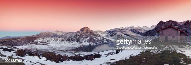 Panoramic view of Lake Ercina with snow in Asturias.