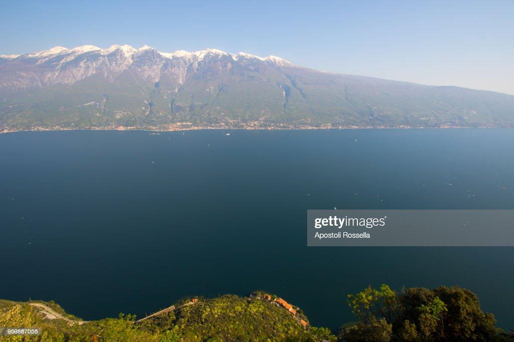Panoramic view of Lake Garda : Bildbanksbilder