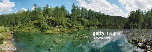 Panoramic View of Lake of the Witches at Alpe Devero