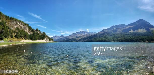 panoramablick auf den silssee im engadin, graubünden, schweiz - seeufer stock-fotos und bilder