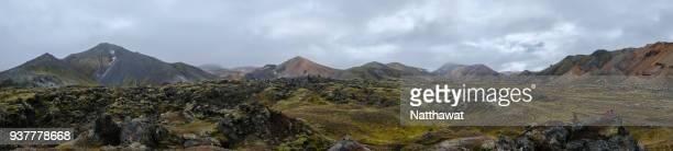 panoramic view of landmannalaugar mountain iceland - アイスランド ストックフォトと画像