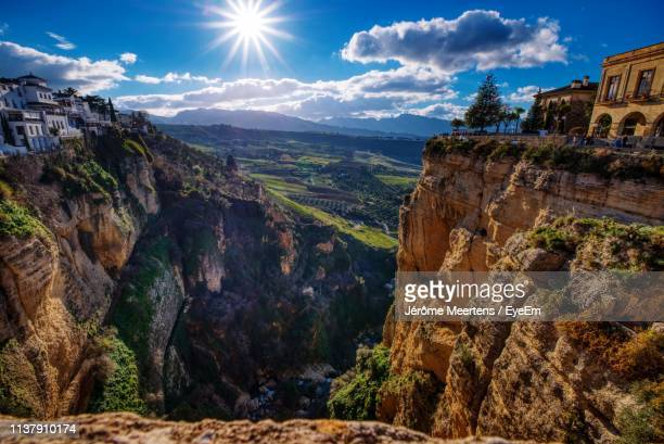 panoramic view of landscape against cloudy sky - andalucia stock pictures, royalty-free photos & images