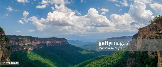 panoramic view of landscape against cloudy sky - blue mountains national park stock pictures, royalty-free photos & images