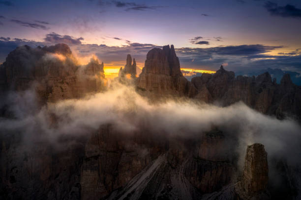 Panoramic view of landscape against sky during sunset, Cimolais, Province of Pordenone, Italy