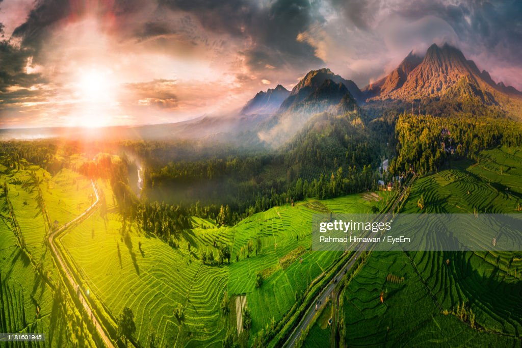 Panoramic View Of Landscape Against Sky During Sunset : Stock Photo