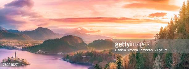 Panoramic View Of Landscape Against Sky During Sunset