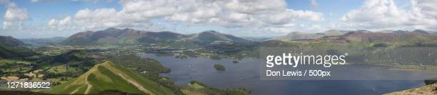 panoramic view of landscape against sky, keswick, united kingdom - panoramic stock pictures, royalty-free photos & images