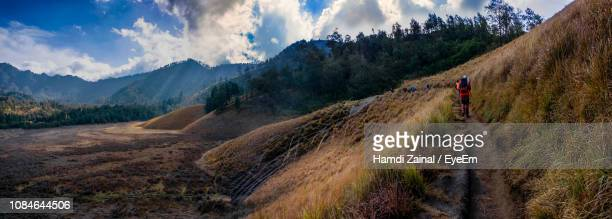 panoramic view of landscape against sky - mt semeru stock pictures, royalty-free photos & images
