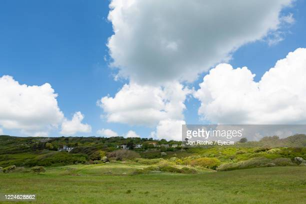 panoramic view of landscape against sky - isle of wight stock pictures, royalty-free photos & images