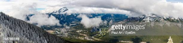 panoramic view of landscape against sky - sulphur mountain stock pictures, royalty-free photos & images