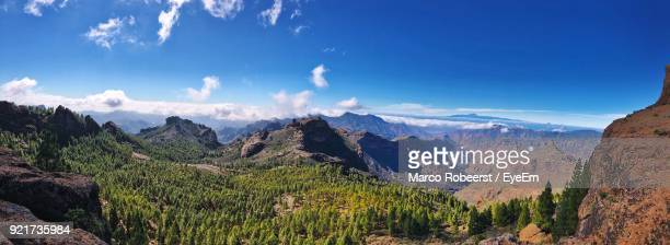 panoramic view of landscape against sky - tejeda canary islands stock pictures, royalty-free photos & images