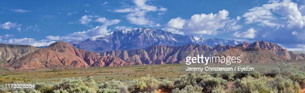 panoramic view of landscape and mountains against sky - st. george utah stock pictures, royalty-free photos & images