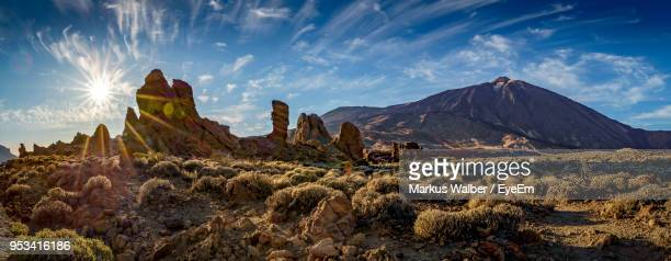 panoramic view of landscape and mountains against sky - el teide national park stock pictures, royalty-free photos & images