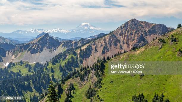 panoramic view of landscape and mountains against sky,enumclaw,washington,united states,usa - kent washington state stock pictures, royalty-free photos & images