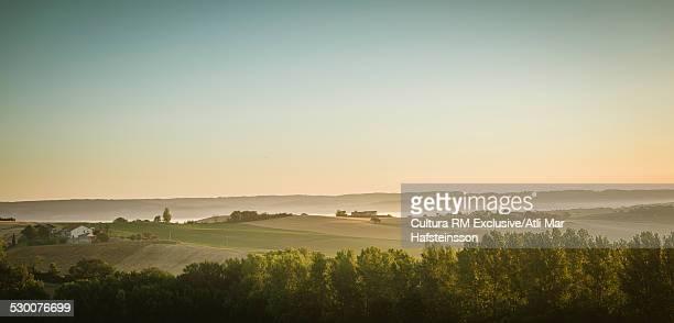 Panoramic view of landscape at sunrise, Prades, Midi Pyrenees, France